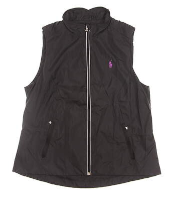 New Womens Ralph Lauren Golf Full Zip Vest Large L Black MSRP $125