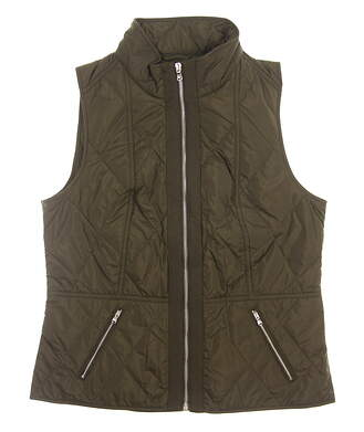 New Womens Ralph Lauren Full-Zip Mock Neck Vest Large L Hunter Olive MSRP $198