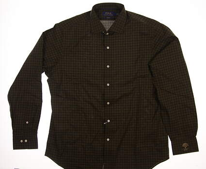 New W/ Logo Mens Ralph Lauren Button Up X-Large XL Green MSRP $125