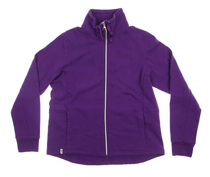 New Womens Ralph Lauren Full Zip Fleece Large L Purple MSRP $125