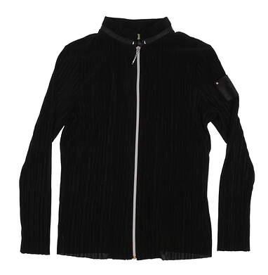 New Womens Jamie Sadock Full Zip Golf Mock Neck Large L Black MSRP $99 72615