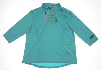 New Womens Jamie Sadock 3/4 Sleeve Turtle Neck Golf Polo Large L Blue MSRP $95 72112
