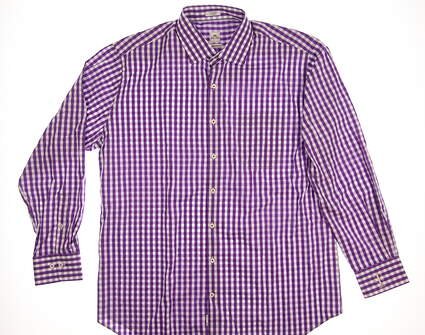 New W/ Logo Mens Peter Millar Button Up Medium M Purple MSRP $110 MS16W16CSL