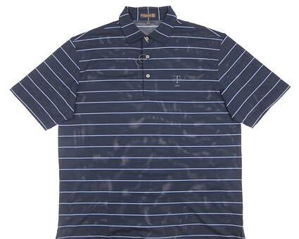 New W/ Logo Mens Peter Millar Golf Polo Large L Blue MSRP $85 MS16EK52S