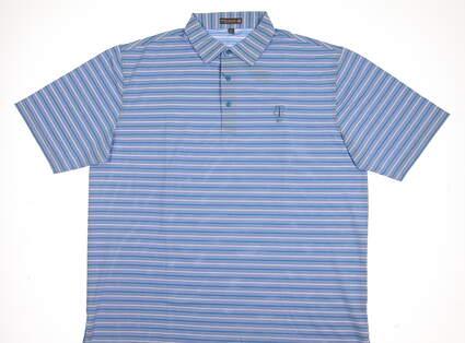 New W/ Logo Mens Peter Millar Golf Polo X-Large XL Blue MSRP $92 MF17EK56S