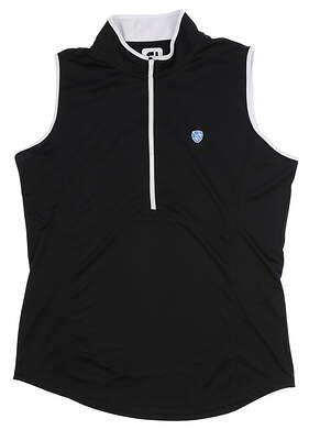 New W/ Logo Womens Footjoy Golf Sleeveless Polo Large L Black MSRP $65 22923