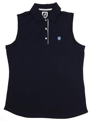 New W/ Logo Womens Footjoy Sleeveless Golf Polo Large L Navy Blue MSRP $65 27076