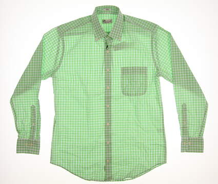 New Mens Peter Millar Button Up Medium M Green MSRP $135 MS18W05NBL