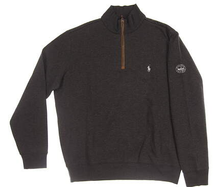 New W/ Logo Mens Ralph Lauren 1/4 Zip Golf Pullover Large L Black MSRP $135