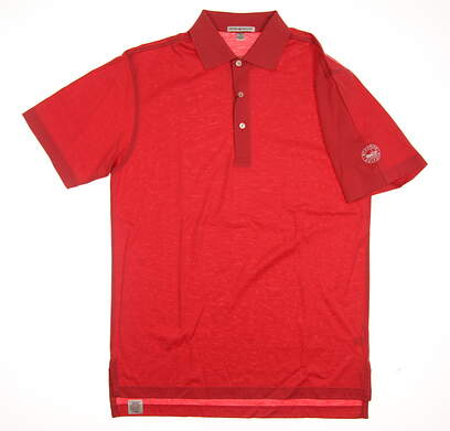 New W/ Logo Mens Peter Millar Golf Polo Small S Orange MSRP $85 MS13K01