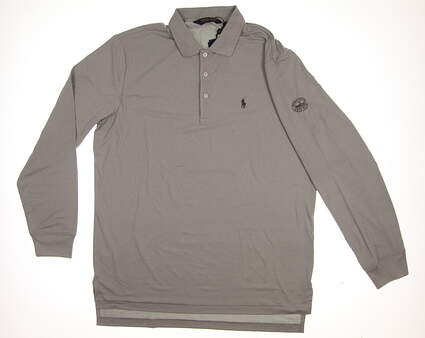 New W/ Logo Mens Ralph Lauren Long Sleeve Polo Large L Gray MSRP $98
