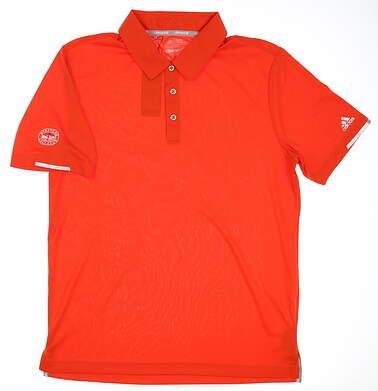 New W/ Logo Mens Adidas Climachill Solid Club Polo Medium M Orange MSRP $70 BC2959