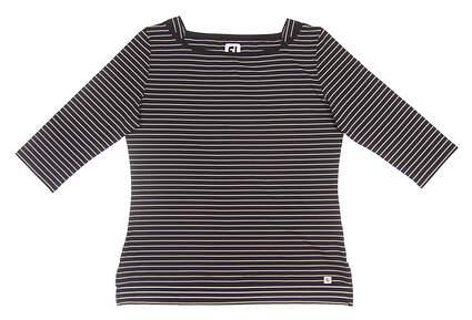 New Womens Footjoy Lisle Stripe Boatneck Shirt Large L Black MSRP $70 27392