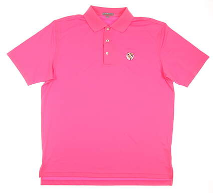 New W/ Logo Mens Peter Millar Summer Comfort Solid Golf Polo Large L Pink MSRP $80 MS14EK01