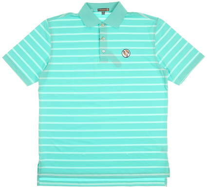 New W/ Logo Mens Peter Millar Summer Comfort Stripe Golf Polo Medium M Green MSRP $90
