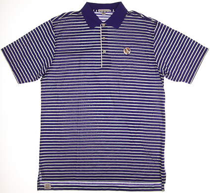 New W/ Logo Mens Peter Millar Golf Polo Large L Purple MSRP $85