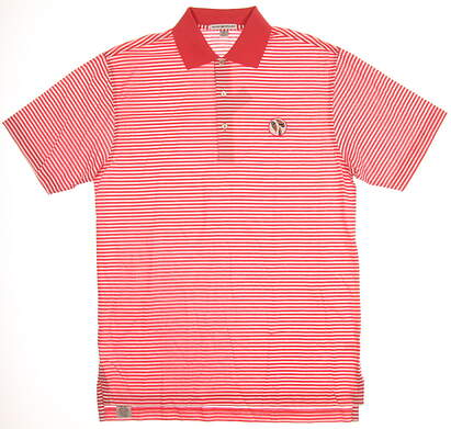 New W/ Logo Mens Peter Millar Golf Polo Large L Coral MSRP $85