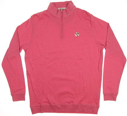 New W/ Logo Mens Peter Millar 1/4 Zip Pullover Large L Pink MSRP $115