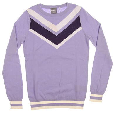 New Womens Puma Chevron Sweater Small S Sweet Lavender MSRP $80 577941 02