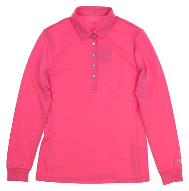 New Womens Puma Long Sleeve Polo Small S Carmine Rose MSRP $55 576155 03