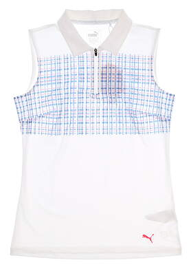 New Womens Puma Sleeveless Sport Polo Small S Bright White/Bright Plasma MSRP $55 574776 01