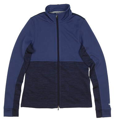 New Womens Puma Heather Full Zip Small S Peacoat Heather MSRP $80 574643 01