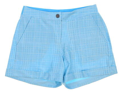 New Womens Puma Soft Plaid Shorts Size Small S Aquarius MSRP $65 574814 01