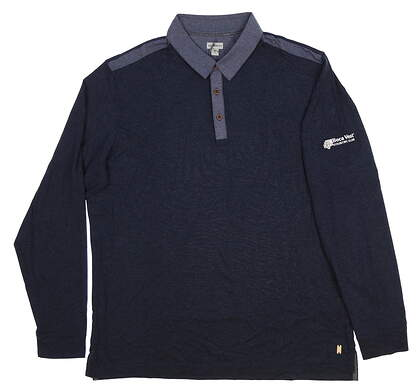 New W/ Logo Mens Ashworth Long Sleeve Polo Large L Blue MSRP $75 Z98065