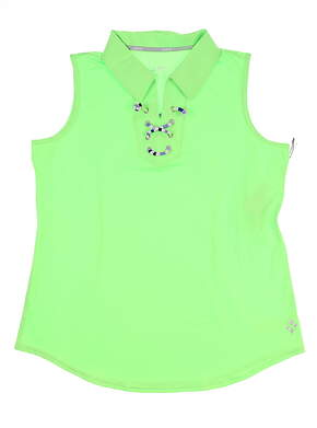 New Womens Jo Fit Lace-Up Sleeveless Polo Medium M Honeydew Green MSRP $78 GT128-HYD