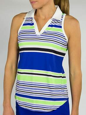 New Womens Jo Fit Tech Cut Away Sleeveless Polo Medium M Mai Tai Stripe MSRP $72 GT161-MTS