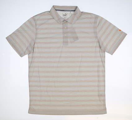 New Mens Puma Sundays Polo Medium M Gray/ Vibrant Orange MSRP $70 576134 04