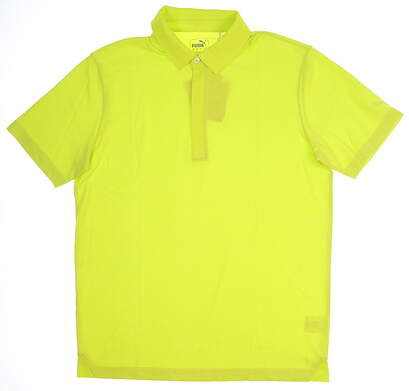 New Mens Puma Moving Day Polo Medium M Lime Punch MSRP $70 576135 07