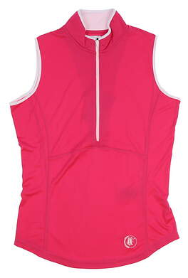New W/ Logo Womens Footjoy Sleeveless Zip Polo X-Small XS Pink MSRP $72 22927