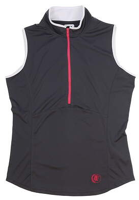 New W/ Logo Womens Footjoy Sleeveless Zip Polo Small S Gray MSRP $72 22925