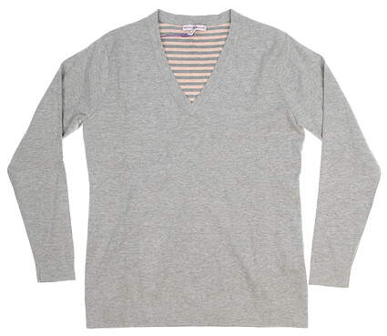 New Womens Peter Millar Plaited V-Neck Sweater Small S Gray MSRP $170 LF16ES01