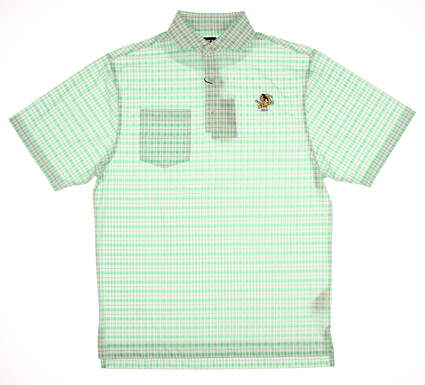 New W/ Logo Mens Footjoy Lisle Print Plaid Polo Small S Green MSRP $75 25543