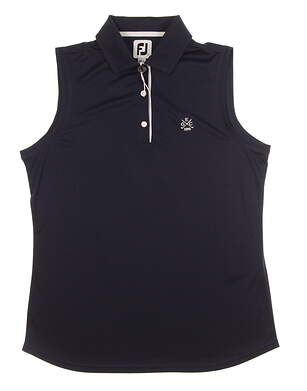 New W/ Logo Womens Footjoy Sleeveless Interlock Polo Large L Navy Blue MSRP $70 27076