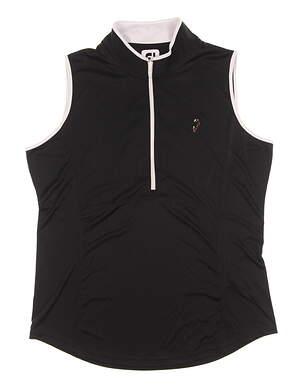 New W/ Logo Womens Footjoy Sleeveless Zip Polo X-Large XL Black MSRP $75 22923