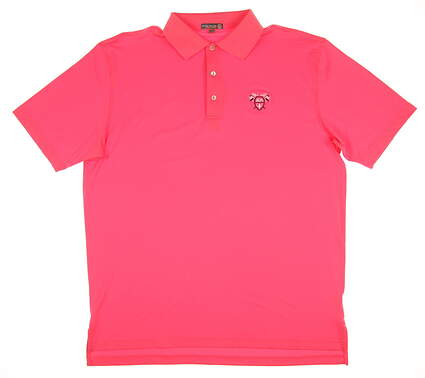 New W/ Logo Mens Peter Millar Golf Polo Large L Pink MSRP $79 MS16EK01