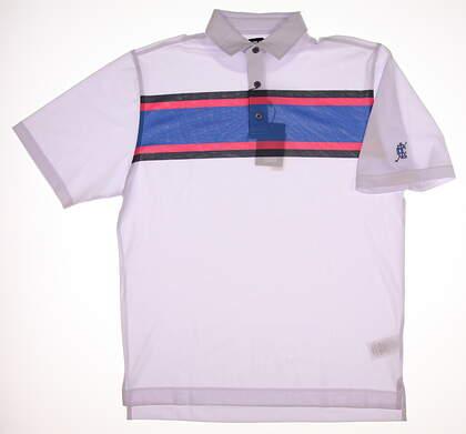 New W/ Logo Mens Footjoy Multi Color Chest Stripe Polo Large L White MSRP $75 21368