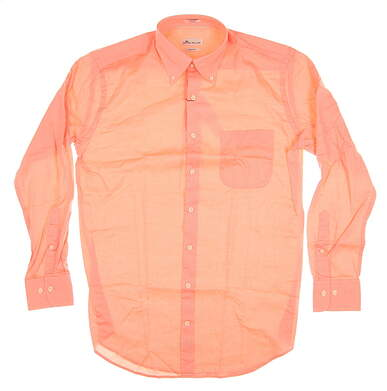 New Mens Peter Millar Button Up Medium M Orange MSRP $100