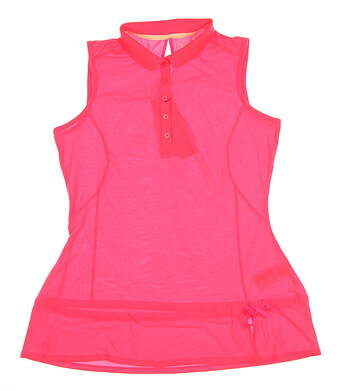 New Womens Adidas Climalite Pique Sleeveless Polo Large L Pink MSRP $60 B88540