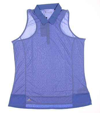 New Womens Adidas Climachill Tour Sleeveless Polo Small S Blue MSRP $65 B83261