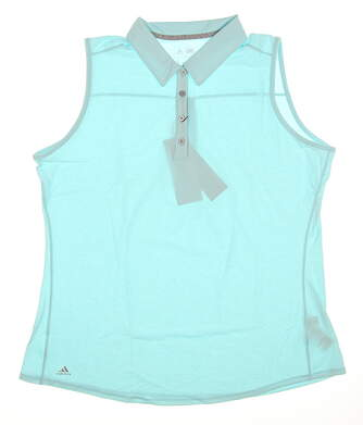 New Womens Adidas Climalite Essential Heather Sleeveless Polo X-Large XL Blue MSRP $50 B82015
