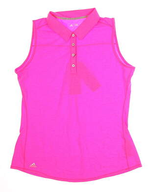 New Womens Adidas Climalite Essential Heather Sleeveless Polo X-Large XL Pink MSRP $50