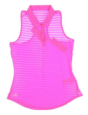 New Womens Adidas Climacool Mesh Sleeveless Polo Small S Pink MSRP $60 B83256