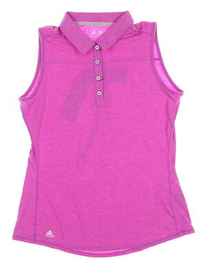 New Womens Adidas Climalite Essential Heather Sleeveless Polo Small S Purple MSRP $50 B83188