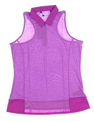 New Womens Adidas Climachill Tour Sleeveless Polo Large L Purple MSRP $65 B83263