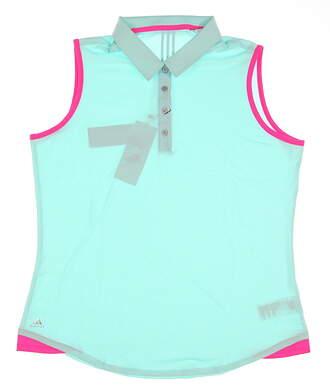 New Womens Adidas Climalite Essential 3-Stripe Sleeveless Polo X-Large XL Blue MSRP $60 B83236