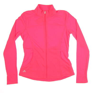 New Womens Adidas Essential 3-Stripe Full Zip Layer Small S Pink MSRP $65 B82938